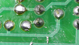 stray solder spatters